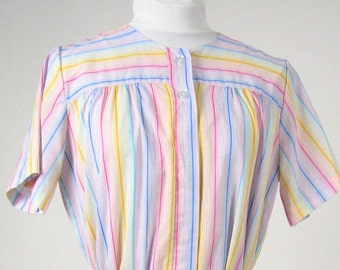 Vintage 1970's Bright Pastel Striped Housedress, Modern Size 14, Large