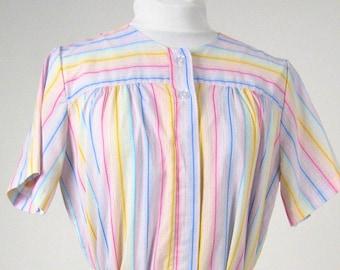 Vintage 1970's Bright Pastel Striped Housedress, Modern Size 14, Large