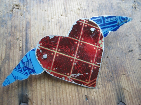 Vintage Heart & Wing Blue and Red Tin Brooch, Recycled, Gifts under 15, gifts for Her, Valentines Day, Mothers Day