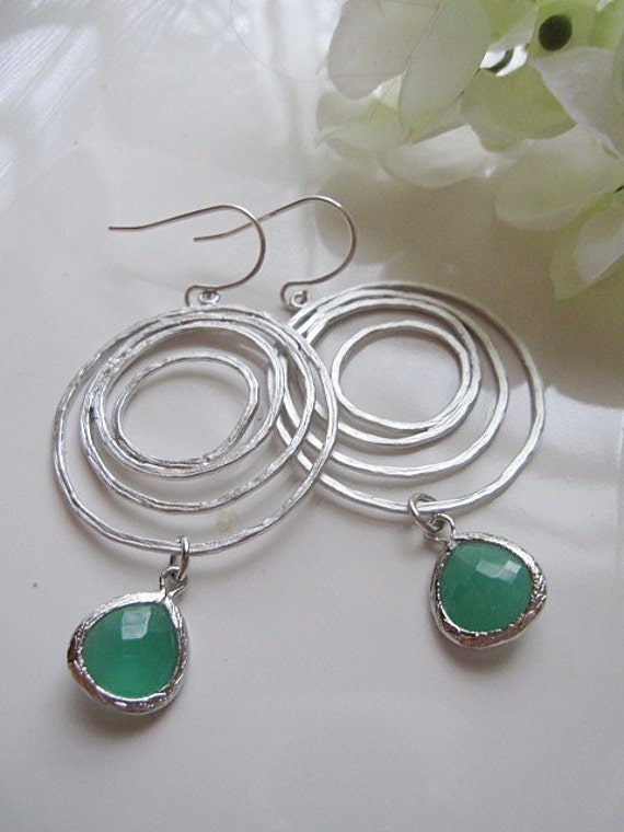 Silver Circle Swirl Earrings with Faceted Glass Palace Green Pendants - Wedding Jewelry -  Bridesmaids Jewelry