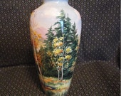 Hand Painted Noritake Vase - Vintage 1946 - Autumn Birch Trees Scene - Artist Signed