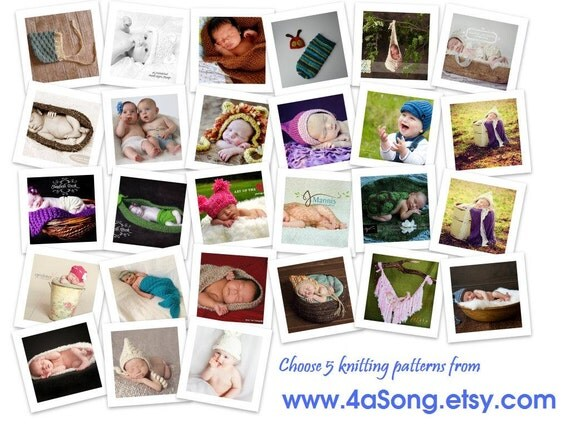 5 Baby Photo Prop Knitting Patterns for 15 Dollars -- Make Your Own Photo Prop Wardrobe -- Choose from Many Patterns -- 35,000 patterns sold