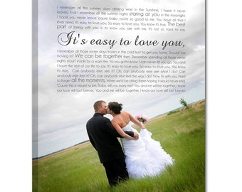 Personalized  Gift Vintage Style Wedding Custom Canvas Your Photo and Your Vows or Lyrics  or Words 12x16 inches