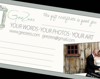 Custom Canvas Art Gift Certificate  Canvas Photo Wording MAILED to you for 150 dollars