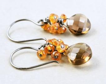 Brown Dangle Earrings, Smoky Quartz Earrings, Garnet Cluster Earrings