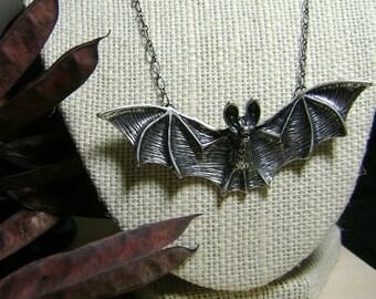 Antique Silver Bat Necklace