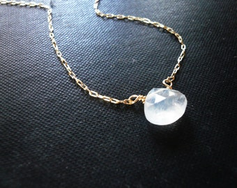 Moonstone Necklace in Gold Filled - Dainty Rainbow Moonstone Briolette Gold Necklace, Perfect Gift