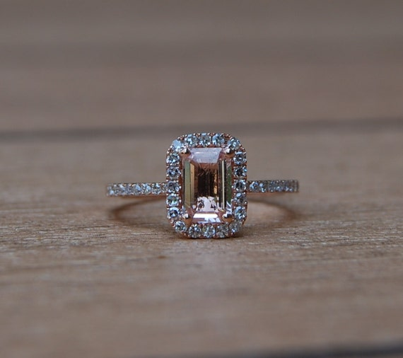 0.97ct Cushion Peach sapphire in 14k rose gold diamond ring engagement ring