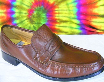 8 M mens vintage 80's brown leather STACY ADAMS penny loafers shoes NOS narrow