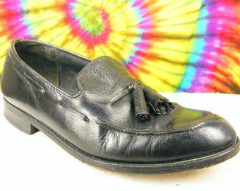 10.5 D mens vintage black leather FLORSHEIM tassel loafers shoes