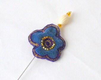 Shawl hat pin blue velvet chunky fabric flower 5 inch Danish