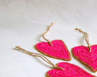 Heart shaped pink fabric ornament Valentines Christmas