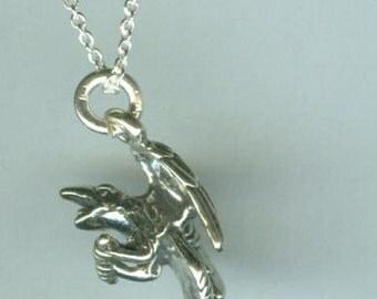 Sterling RAVEN Pendant and Chain - Totem, Wildlife, Bird, Avian
