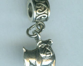Silver BULL DOG Bead Charm for all Name Brand Add a Bead Bracelets
