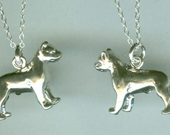 Sterling AMERICAN PITBULL DOG Pendant and Chain - 3D - Staffordshire - Pet - Heavy