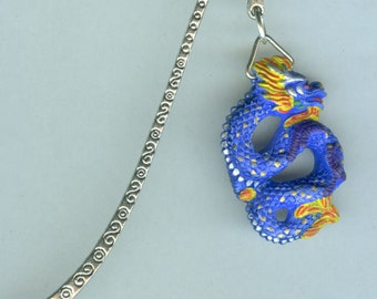 2 Blue & Gold DRAGON Bookmarks - Totem, Fantasy, Celtic, Oriental