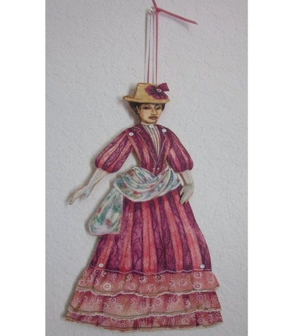 Victorian walking outfit in pink with hat Paper Doll ORIGINAL on watercolor paper