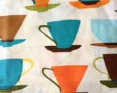 Robert Kaufman Metro Cafe Tea Cups HALF YARD Destash sale