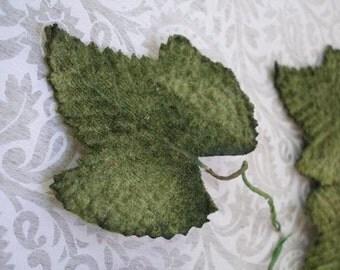 Velvet Green Oak Leaves for hair garland, hat decoration,dress or craft in green lot of ten leaves