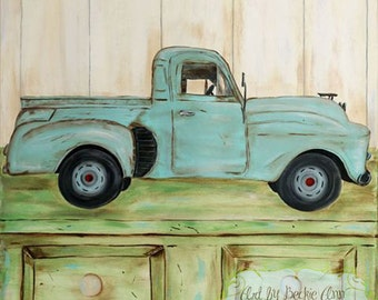 Set of Two Classic Car Truck Boys Kids Stretched Canvas Art 10x10