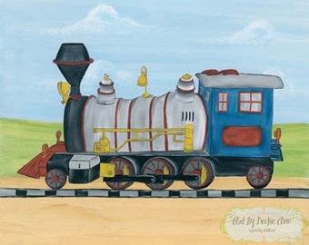 Boys Kids Choo Choo Train Locomotive Transportation Art Stretched Canvas 11x14 Set of Two