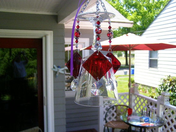 Crystal Wine Glass Wind Chime accented w/Red Triangular Clappers and Crystals