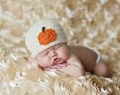 Crochet Hat Crochet Baby Hat Diaper Cover Set Baby Pumpkin Hat Boy Hat Girl Hat Newborn Hat Infant Beanie Fall Hat Photo Prop Ivory