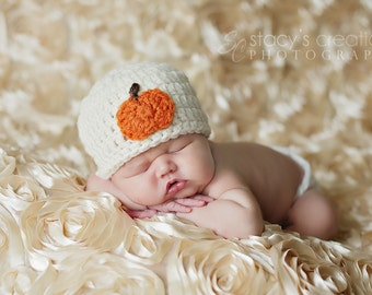 Baby Pumpkin Hat and Diaper Cover Set, Newborn Halloween Costume, Infant Pumpkin Beanie, Crochet Baby Outfit, Newborn Clothes