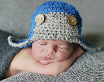 Crochet Boy Hat, Baby Hat, Baby Aviator Hat, Newborn Hat, Baby Pilot Hat, Baby Bomber Hat, Hat for Baby Boys, Baby Winter Hat, Blue Baby Hat
