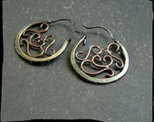 Sterling Silver and Copper Round Rustic Dangle Earrings - Primitive Beauty