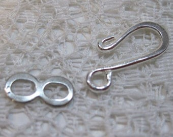 10 Silver Plated Hook and Eye S Hook Clasps 16mm x 11mm F406