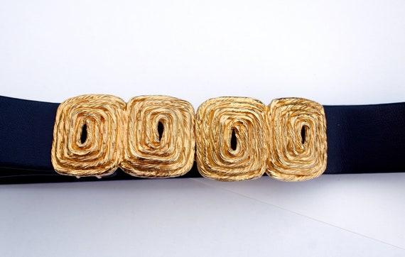 VINTAGE Gay Boyer Gold Belt Buckle on Navy belt