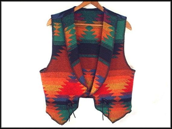 80's southwest NATIVE BLANKET vintage wool-blend tribal vest M