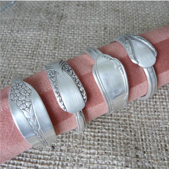 Napkin Rings, Antique Silverware Patterns, Set of 4