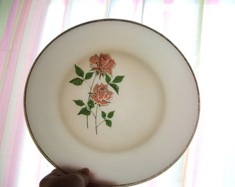 Anchor Hocking Fire King Milk Glass Plate with pink anniversary roses
