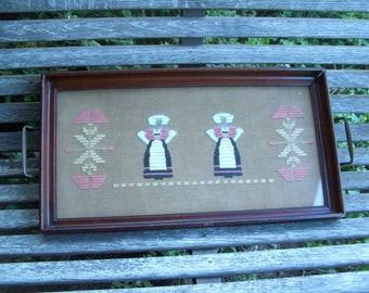Antique Framed Needlework Tray Wall Hanging Scandinavian Folk Art