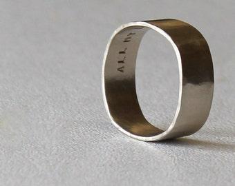 Square Wedding Band White Gold Square Ring Mens Ring