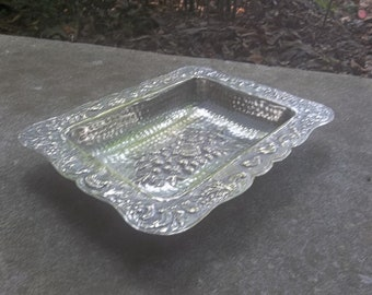 Vintage Silver Bowl Repousse Tray Art Nouveau Silver Plate Wedding Decorations Table Decor French Country Silver Plate Bowl Vanity Tray