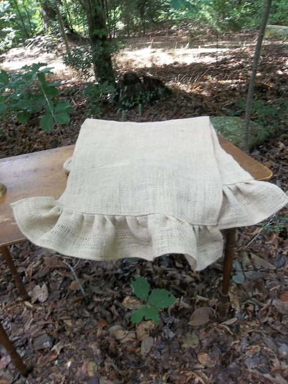 Custom Burlap Table Runner Ruffled Burlap Runner Wedding Decor Table Settings French Country Farmhouse Tablecloth Made to Order Custom Sizes