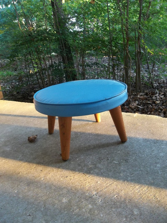 Vintage Turquoise Stool Country Farmhouse Mid Century Modern Style Child Stool Footstool