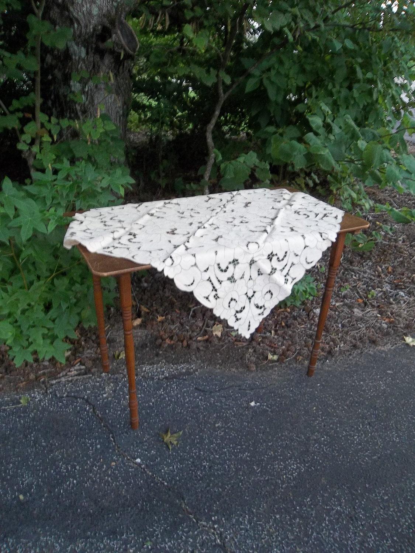 Vintage Irish Linen Tablecloth Cut Work Wedding By Misshettie