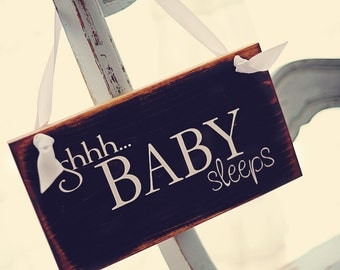 Shhh... Baby Sleeps -Shabby Chic wood Sign- Perfect Gift For Baby