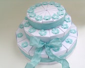 36 white or ivory 3-tiered wedding favor slice cake boxes with blue flowers