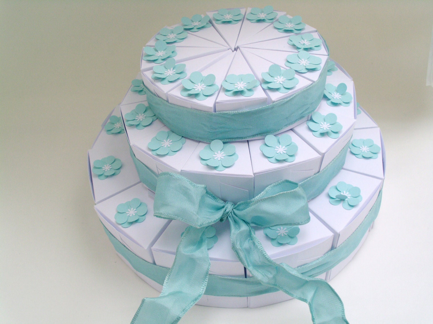 Items Similar To 36 White Or Ivory 3 Tiered Wedding Favor Slice Cake Boxes  With Blue Flowers On Etsy