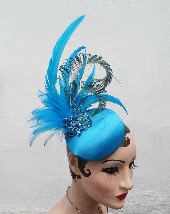 Turquoise Blue Feather Head Piece, Art Deco Costume Fascinator, Peacock Feather Cocktail Hat, Batcakes Couture