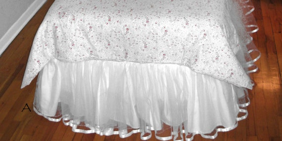 12, 14, or 16 Inches - TWIN Tulle Bedskirt - Choose your color