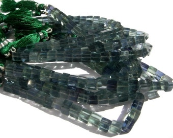 1/2 Strand - Finest Quality Genuine Green Fluorite Smooth Cubes Briolettes Size 6mm approx