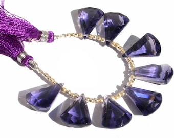 7 Inches - Extremely Beautiful AAA Amethyst Quartz Faceted Elongated Fan Shaped Fancy Briolettes Size 20x13mm