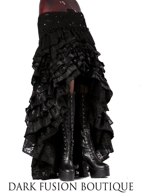 Ruffle Skirt, Black Combo, Cabaret, Vaudeville, Steampunk, Vampire, Noir, Gothic, Witchy, Black Rock, Dance