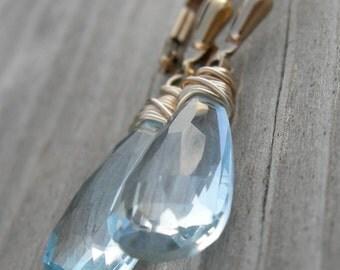 SHIPS IMMEDIATELY AAA Sky Blue Topaz Gold Fill Earrings December Birthstone Bridal Jewelry